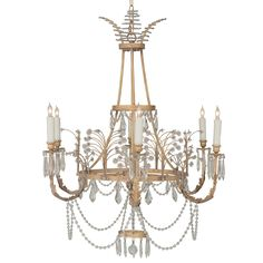 Italian Brass Chandelier W White Frosted Cylindrical Glass
