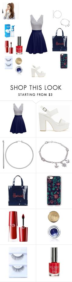"""""""stripes"""" by martyleonelli ❤ liked on Polyvore featuring Nly Shoes, Harrods, Casetify, Giorgio Armani, Bobbi Brown Cosmetics, Topshop and Moschino"""