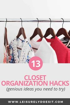 Use these clever closet organization hacks to get rid of clutter and maximize the storage you have at home for clothing, shoes and accessories. Bathroom Closet Organization, Bedroom Closet Storage, Bathroom Storage Solutions, Small Closet Organization, Master Bedroom Closet, Organization Hacks, Diy Bedroom, Trendy Bedroom, Bedroom Wardrobe