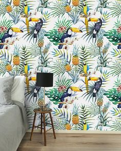 Palm Jungle wallpaper in a kidsroom - Welcome my homepage Luxury Wallpaper, Wallpaper Decor, Amsterdam Wallpaper, Tropical Decor, Tropical Prints, Creative Labs, Kidsroom, Decoration, Wall Murals