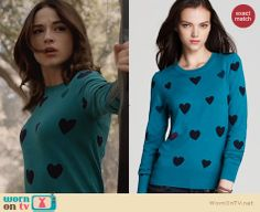 Allison's teal green heart sweater on Teen Wolf. Outfit Details: http://wornontv.net/24783 #TeenWolf #fashion