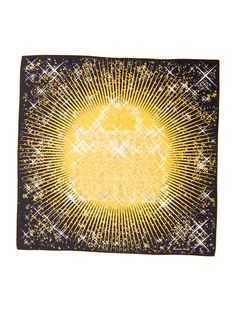 Yellow and multicolor Hermès silk scarf with 'Magic Kelly' motif and hand rolled edges.