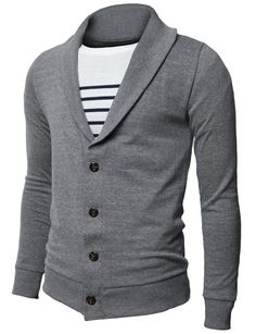 Mens Basic Cardigan with Shawl Collar