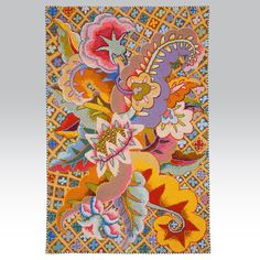 Fiesta Designed by Kaffe in 1993 as a rug. This exuberant explosion of colour works equally well as a wallhanging.