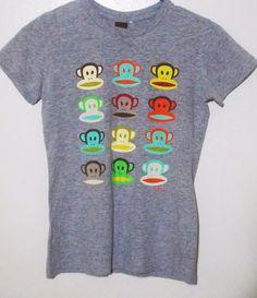 Paul Frank Women's Gray Monkey Print Cute T-shirt Size Small #PaulFrank #BasicTee