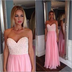Pink Prom Dress with Pearls
