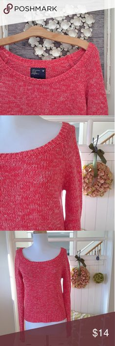 """Super Soft American Eagle Cropped Sweater This sweater is all things soft and cozy comfy! You'll love it's soft as lamb's ear cotton knit in gorgeous coral and it's flattering cropped fit. It features a scoop neck that will show off your sexy collarbones or that can be worn when layering. 100% suoer soft spun cotton. Neck opening 12"""" side to side. 17"""" underarm to underam. 20"""" shoulder to hem. This has been gently preloved and is in excellent, like new condition. American Eagle Outfitters…"""
