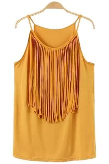 Tassels Spaghetti Straps Tank Top{{I like this one in black but you can't see the fringe in the photo of it in black}}K.Sameiro