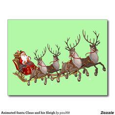 Animated Santa Claus and his Sleigh Postcard