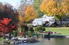 Fall Fairy Garden backgrounds | Autumn House View Sycamore Hills, Autumn House, Garden On A Hill, Autumn Fairy, House Viewing, Halloween Backgrounds, Mansions, House Styles, Gallery