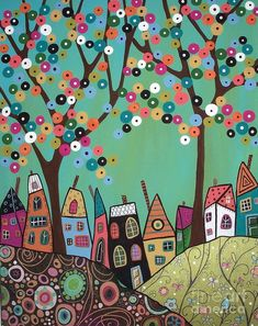Purchase prints from Karla Gerard. All Karla Gerard prints are ready to ship within 3 - 4 business days and include a money-back guarantee. Karla Gerard, Sky Painting, Painting Walls, Green Sky, Naive Art, Whimsical Art, Art Pages, Tree Art, Art Lessons