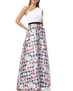 c943faf6e5 One-Shoulder Gown with Printed Mikado Skirt and Gathered Waist by Kay Unger  New York at Neiman Marcus
