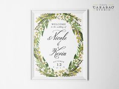 Etsy の DIGITAL Wedding Welcome Sign Floral by littlecarabaostudio