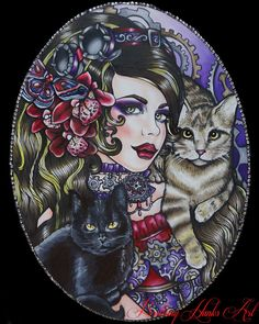 Steampunk Girl - Pin Up girl Tattoo Art  CANVAS PRINT 16 by 20  Tattoo home decor Gothic Art Nouveau Lowbrow Flowers Cats dark colors