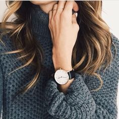 Beautiful with chunky knits. The Daniel Wellington watch with its interchangeable straps speaks for a classic and timeless design suitable for every occasion. #DanielWellington online www.ellageorgia.com