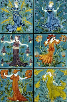 Ceramic tiles - Flora's Train, designed by Walter Crane, Pilkington Tile and Pottery Company, 1900-01
