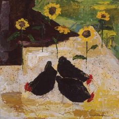Chickens and Sunflowers Giclee Print