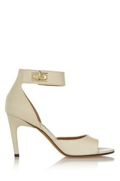 Shark Lock textured-leather sandals in cream #sandals #covetme #givenchy