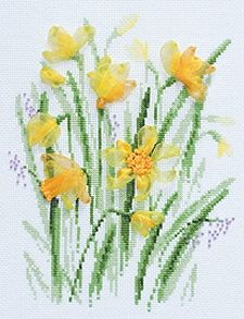 Spring Narcissi Flowers Cross Stitch & Ribbon Embroidery Kit R1180