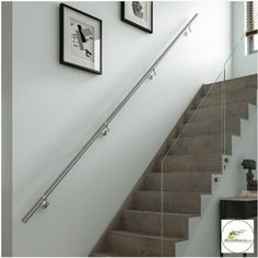 Details about Stairs Wall Mounted Handrail Full Kit in Chrome or Brushed Nickel… Banister Rails, Staircase Handrail, Oak Stairs, Stair Walls, Banisters, Stair Railing, Staircases, Attic Staircase, Basement Stairs