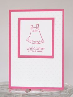 Pink Dress Congrats and Welcome to New Baby Girl Hand Made Card | Laurascrafts - Cards on ArtFire