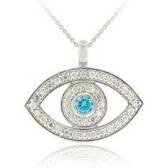 @Overstock - This sterling silver evil eye pendant dangles from an 18-inch rolo chain. This necklace features a blue cubic zirconia and is framed by clear cubic zirconia stones.http://www.overstock.com/Jewelry-Watches/Icz-Stonez-Sterling-Silver-Aquamarine-Cubic-Zirconia-Evil-Eye-Necklace/5509566/product.html?CID=214117 $25.49