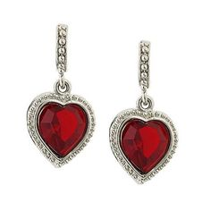 1928 Jewelry Red Swarovski Crystal Heart Earrings ❤ liked on Polyvore