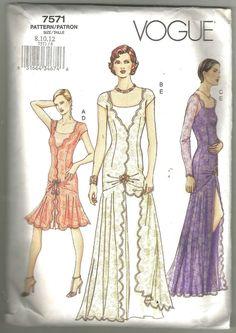 Vogue 7571 sewing pattern 8 10 12 evening wear Flapper dress Uncut factory folds #VoguePatterns #Missesdresspatterns