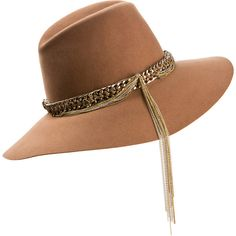 Maison Michel Kate Embellished Dark Beige Felt Hat (€675) ❤ liked on Polyvore featuring accessories, hats, beige hats, felt hat, embellished hats, maison michel and maison michel hats