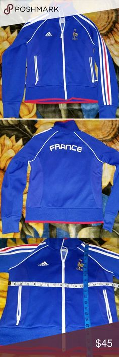 Adidas FRANCE Soccer FIFA Zip up jacket Excellent condition. No stains or holes. Measurements included in pictures. Front logos Stitched. Back logo Screen printed adidas Jackets & Coats