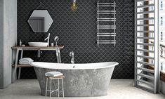 30 New Metro Gris Tile Shower . the Burrow Bathroom Tile Metro Gris Grey Tile Small Bathroom Black And White Tiles, Black Walls, Bathroom Wall, Modern Bathroom, Bathroom Black, Bathroom Sinks, Murs Clairs, Online Tile Store, Black Interior Doors