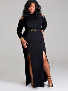 "Fashionable Curves I MONIF C. ""EVA"" COLD SHOULDER DOUBLE SLIT DRESS WITH DETACHABLE BELT in BLACK"