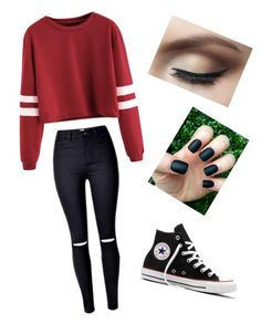 """""""1st Outfit!"""" by mariahmariie03 ❤ liked on Polyvore featuring Converse"""