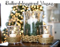 DIY Hurricane Vase Inspired by Ballard Designs Hurricane Vase, Hurricane Candle Holders, Diy Candle Holders, Diy Candles, Candle Vases, Glass Vase, Holiday Candles, Unity Candle, Floating Candles