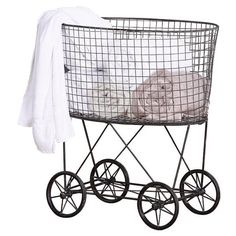 Wheeled Wire Laundry Basket Reviews ❤ liked on Polyvore featuring home, home improvement and storage & organization