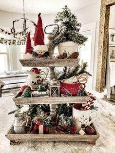 Modern Farmhouse Christmas Home Tour - tribe of burton Noel Christmas, Merry Little Christmas, Country Christmas, Christmas Projects, All Things Christmas, Holiday Crafts, Holiday Decor, Rustic Christmas Crafts, Woodland Christmas