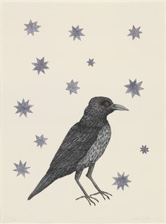 """Bird with Stars  Kiki Smith (American, born Germany 1954)    2005. Etching, drypoint, and aquatint, composition (irreg.): 22 1/16 x 16"""" (56 x 40.6 cm); sheet: 26 1/4 x 19 5/16"""" (66.7 x 49 cm). Printer: Harlan & Weaver, New York. Publisher: Kiki Smith and The Museum of Modern Art, New York. Edition: 70. Gift of the artist. © 2012 Kiki Smith  294.2006"""