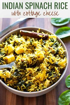 Palak pulao with paneer is an easy, light and fresh pulao recipe that's bursting with the goodness of spinach and Indian cottage cheese. Pair it with a raita (yogurt dip) and salad for a simple and fuss-free meal. Indian Paneer Recipes, Indian Food Recipes, Vegetarian Recipes, Healthy Recipes, Ethnic Recipes, Yummy Recipes, Rice Dishes, Tasty Dishes, Kitchens