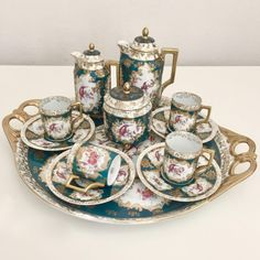 Antique Victoria Carlsbad Bohemian cabaret coffee set with birds, Tea Sets Vintage, Vintage Dishes, Tea Strainer, Blue And White China, China Sets, Chocolate Pots, Coffee Set, Teapots, Tea Party