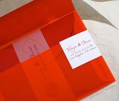 Tangerine Orange | Wedding Invitation - The Paper Stylist Love the envelope.
