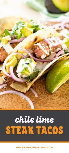 These Chile Lime Steak Tacos start with a flank steak that is marinated in a chili lime marinade, then grilled to medium rare. Slice it across the grain, pile it on your favorite taco shell with toppings and dig into it for a delicious dinner perfect for the weeknight! #steak #tacos Barbecue Recipes, Grilling Recipes, Beef Recipes, Bbq, Easy Steak Fajitas, Steak Tacos, Slow Cooker Italian Beef, Slow Cooker Beef, Easy Dinner Recipes