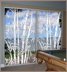 Big Bamboo Etched Glass Window Film (see thru) on sliding glass doors. Etched Glass Vinyl, Rideaux Design, Stained Glass Window Film, Oriental Decor, Bamboo Design, Window Films, Glass Artwork, Sliding Glass Door, Glass Doors