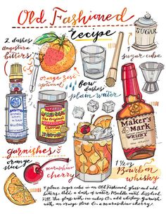 Old Fashioned Cocktail print. Illustration. Bar Decor. by LouPaper