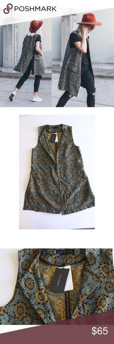"💥HP💥 Zara Floral Embroidered Jacquard Vest NWT NWT Zara Jacquard Vest Size M. Perfect for Fall! ⭐️Measurements: 🔹Length: 35"" No trades and no modeling. Please feel free to ask me any questions. Zara Jackets & Coats Vests"