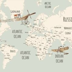 Little Munnies Aviators World Map