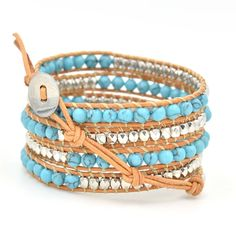 Turquoise and Silver Bead Leather Wrap Bracelet