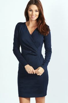 Megan Long Sleeve Wrap Dress