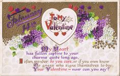 February 14th postcard, with hearts, lilacs and a poem.  Postmarked February 13th, 1912.  From my (Megan Berry @ Lilac & Lavender) personal collection.  Free to use :)