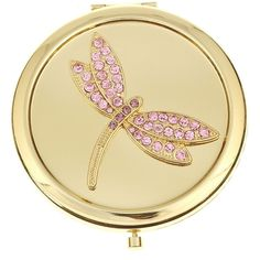 Monet Gold-Tone & Pink Stone Dragonfly Mirror Compact ($17) ❤ liked on Polyvore featuring beauty products, beauty accessories, makeup, beauty and mirrors