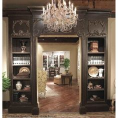 Habersham This Doorway Oversized Set Bookcase is synonymous with the quality craftsmanship. Color: Connoisseur - Classic White, Accents: Champagne, Size: H x W x D Solid Wood Shelves, House Design, Decor, Habersham Furniture, Library Bookcase, Home, Interior, Doorway, Home Decor